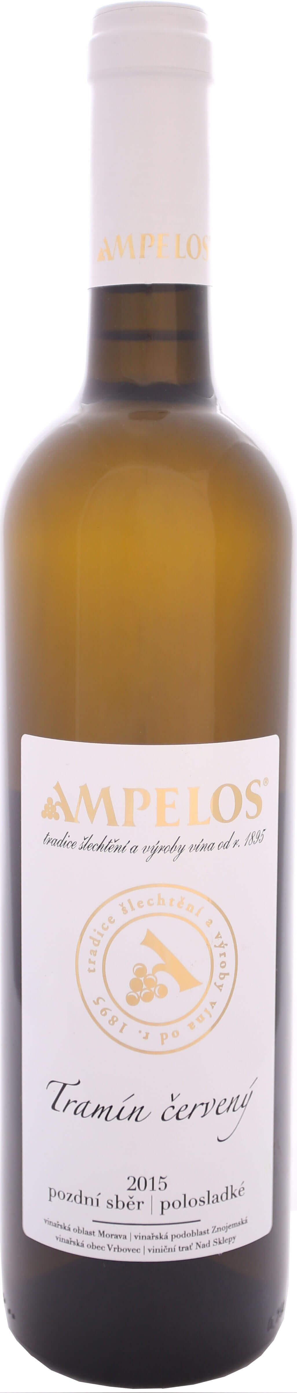 Vinařství Ampelos Tramín červený pozdní sběr 2015, 0,75 l