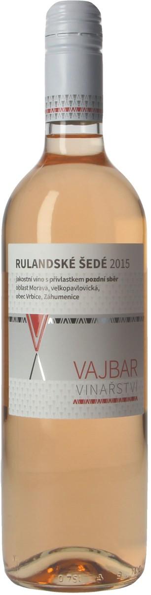 Vinařství Vajbar Rulandské šedé pozdní sběr 2015, 0,75 l
