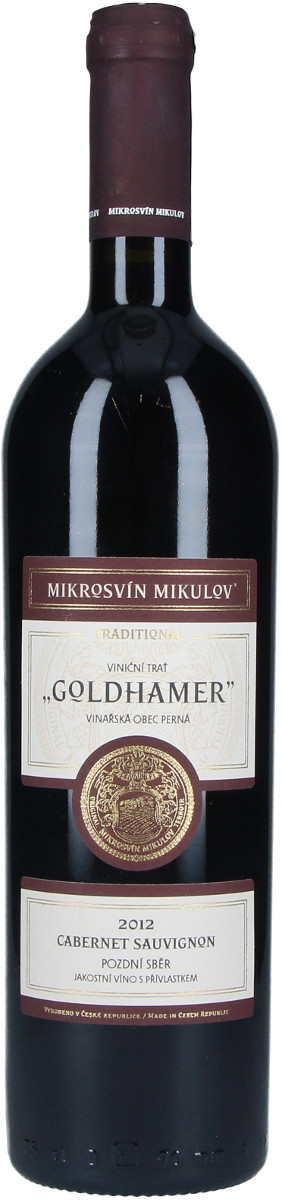Vinařství Mikrosvín Cabernet Sauvignon pozdní sběr 2012, 0,75 l