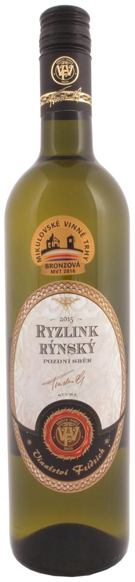 Fridrich Ryzlink rýnský pozdní sběr 2015, 0,75 l