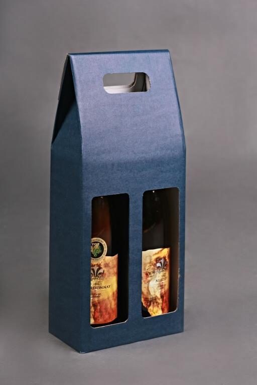 Karton na 2 láhve modrý