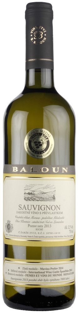 Vinařství Baloun Sauvignon pozdní sběr 2013, 0,75 l