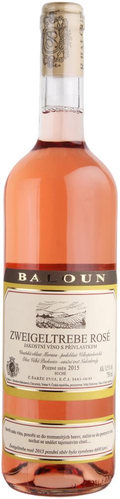Vinařství Baloun Zweigeltrebe rosé pozdní sběr 2015, 0,75 l