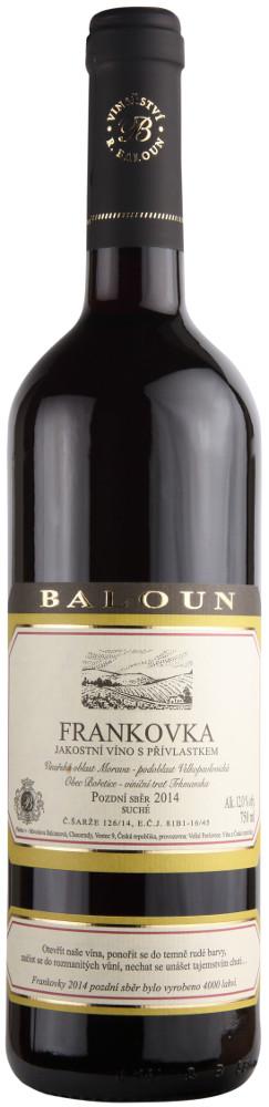 Vinařství Baloun Frankovka pozdní sběr 2014, 0,75 l