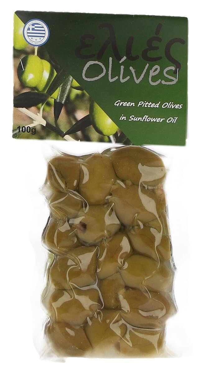 Řecké olivy zelené bez pecky v slunečnicovém oleji