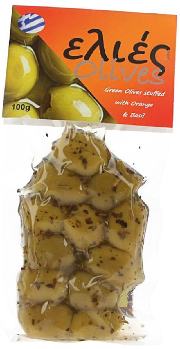 Řecké olivy zelené s pomerančem,bazalkou bez pecky
