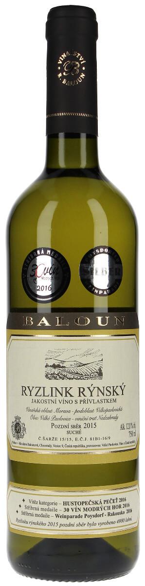 Vinařství Baloun Ryzlink rýnský pozdní sběr 2015, 0,75 l