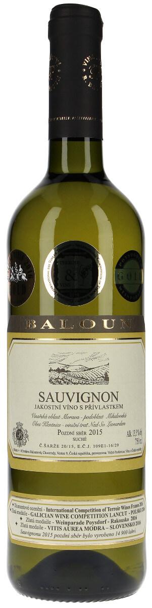 Vinařství Baloun Sauvignon pozdní sběr 2015, 0,75 l