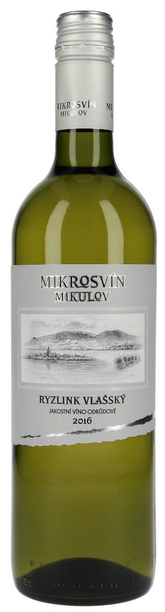 Vinařství Mikrosvín Ryzlink vlašský jakostní 2016, 0,75 l