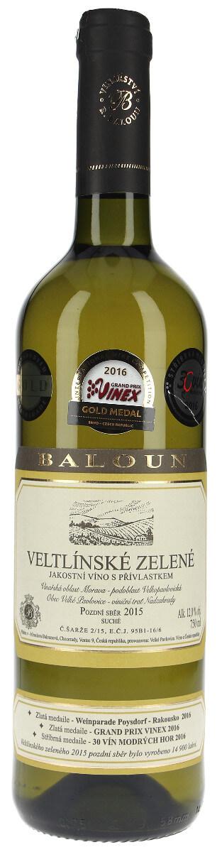 Vinařství Baloun Veltlínské zelené pozdní sběr 2015, 0,75 l