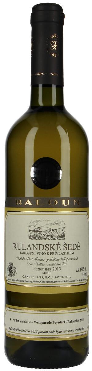 Vinařství Baloun Rulandské šedé pozdní sběr 2015, 0,75 l