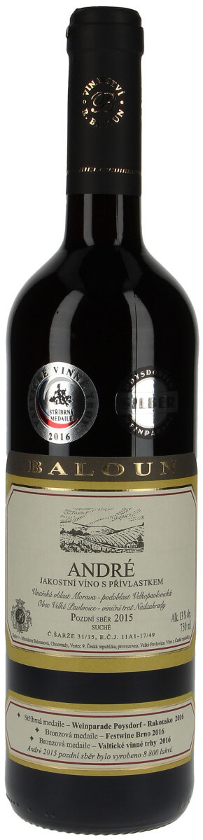 Vinařství Baloun André pozdní sběr 2015, 0,75 l