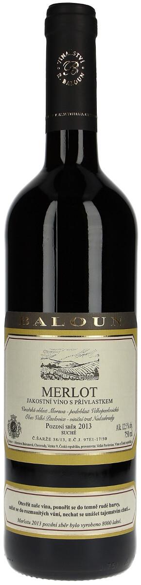Vinařství Baloun Merlot pozdní sběr 2013, 0,75 l