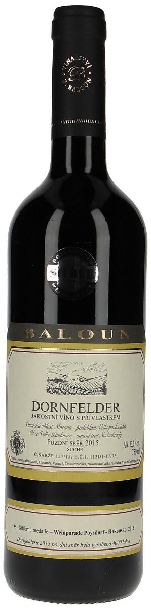 Vinařství Baloun Dornfelder pozdní sběr 2015, 0,75 l