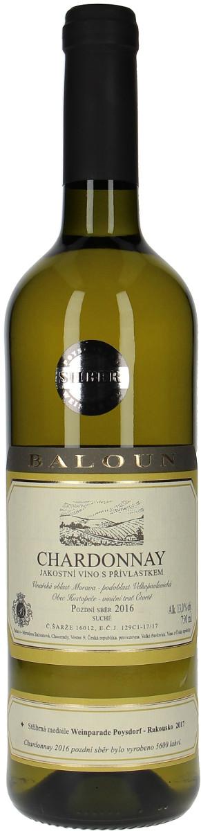 Vinařství Baloun Chardonnay pozdní sběr 2016, 0,75 l