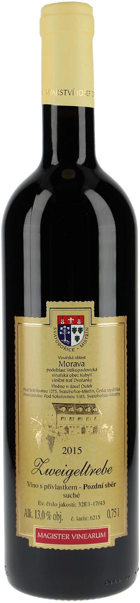 Vinařství Josef Dufek Zweigeltrebe pozdní sběr 2015, 0,75 l