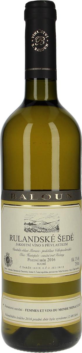 Vinařství Baloun Rulandské šedé pozdní sběr 2016, 0,75 l
