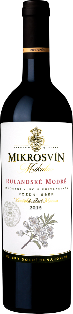 Vinařství Mikrosvín Rulandské modré pozdní sběr 2015, 0,75l l